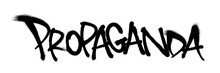 Sprayed Propaganda Font Graffiti With Overspray In Black Over White. Vector Illustration.