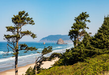 Green Trees Frame View Of Haystack Rock On Cannon Beach In Oregon