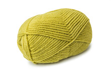 Skein Of Woolen Light Green, Olive Yarn Isolated On A White Background