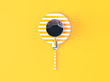 Directly Above Shot Of Coffee Cup On Yellow Background