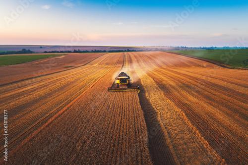 Foto Combine harvester agriculture machine harvesting golden ripe wheat field