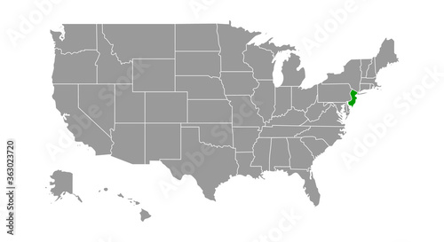 Photo Vector Map of the State of New Jersey; Illustrator 8