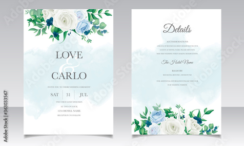 Fototapeta Wedding invitation card with beautiful roses  greenery  leaves  and blueberries obraz