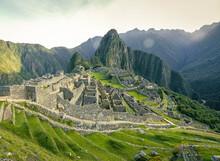 The Ruins Of Machu Picchu Against Mountains