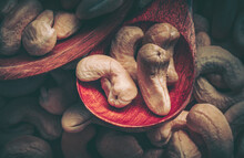 Close Up Cashew Nuts; Food Bac...