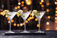 Glasses Of Fresh Martini On Ta...