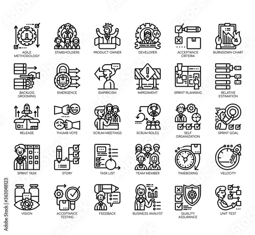 Set of agile methodology thin line and pixel perfect icons for any web and app project Canvas Print