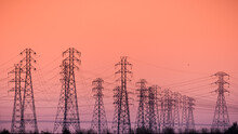 Sunset View Of High Voltage El...