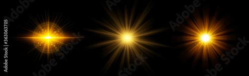 Obraz Bright sun on a black background - Illustration - fototapety do salonu