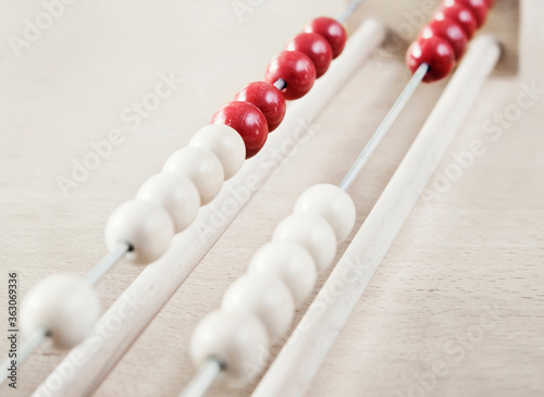 High Angle View Of Abacus On Table Wallpaper Mural
