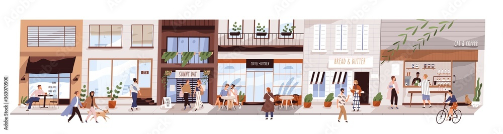 Fototapeta Small urban street with cafes and shops vector flat illustration. Happy man, woman and couples walking on modern city panorama. Buildings, coffeshop, store showcase with people isolated on white
