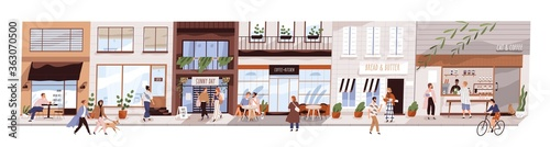 Small urban street with cafes and shops vector flat illustration. Happy man, woman and couples walking on modern city panorama. Buildings, coffeshop, store showcase with people isolated on white - 363070500