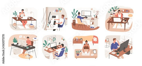 Fototapeta Set of freelance people working remotely vector flat illustration. Collection of man and woman use computer or laptop at comfortable workplace isolated on white. Self employed person at home office obraz