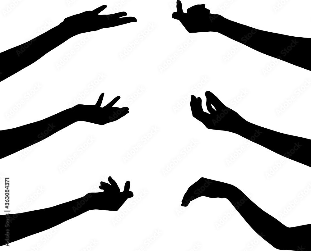 Fototapeta hand in gesture silhouette collection icon