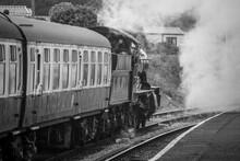 Train On Railroad Track Steam Train