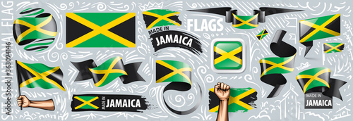 Valokuva Vector set of the national flag of Jamaica in various creative designs