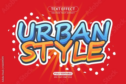 Stampa su Tela Editable Text Effect Urban Street Style Vector Style for advertising, social med