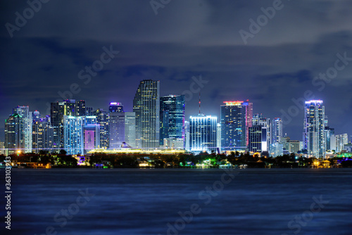 Fototapety, obrazy: Miami business district, lights and reflections of the city. Miami night downtown, city Florida.