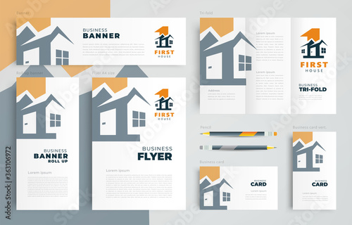 Fotomural House building architecture theme Set flyer cover, tri-fold, banner, roll up ban