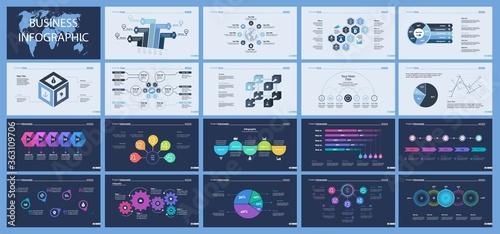 Set of production or logistics concept infographic charts Canvas-taulu