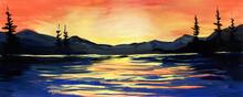 Bright Watercolor Landscape Of...