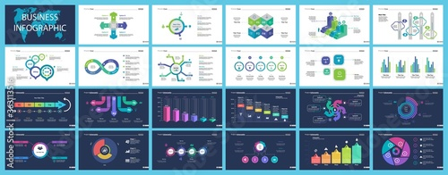 Vászonkép Inforgraphic diagram design set can be used for business project, for annual report, web design