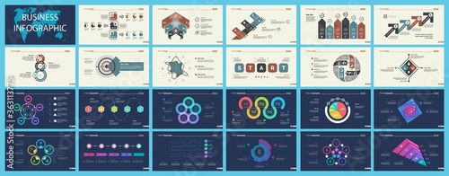 Set of planning or startup concept infographic charts Canvas Print