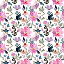 Purple Watercolor Wild Flower Seamless Pattern For Background, Fabric, Textile, Fashion, Wallpaper, Wedding Etc.