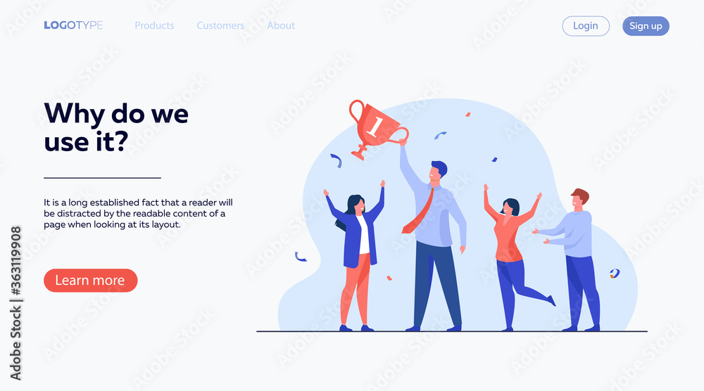 Fototapeta Teamwork and team success concept. Best employees winning cup, celebrating victory. Flat vector illustration for leadership and career achievement topics