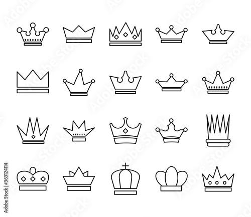 Fotografering bundle of crowns royal set icons