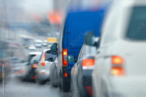 Photo cars in the city road zoom movement / abstract blurred background, urban transpo