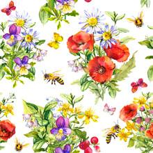 Summer Meadow Flowers, Grasses, Butterflies, Honey Bee. Seamless Floral Pattern. Watercolor