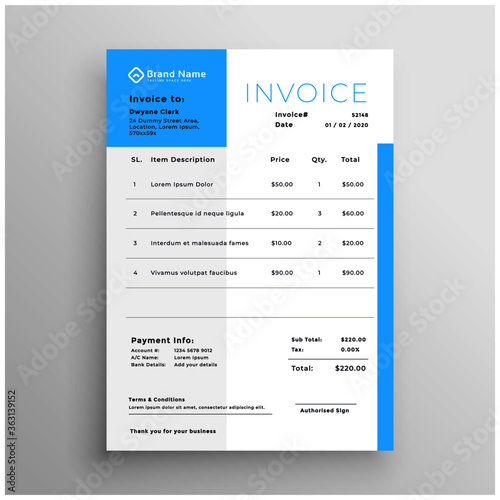 Cuadros en Lienzo business invoice blue minimal template design