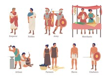 Ancient Rome Social Hierarchy Structure Character Set, Vector Flat Isolated Illustration. Upper And Lower Classes Of Ancient Roman Hierarchy.