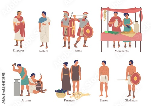 Valokuvatapetti Ancient Rome social hierarchy structure character set, vector flat isolated illustration