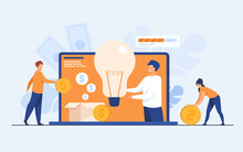 Investment And Crowdfunding Concept. People Investing Money To Startup Project, Raising Cash For Donation On Internet. Vector Illustration For Cooperation, Business, Sponsor Topics