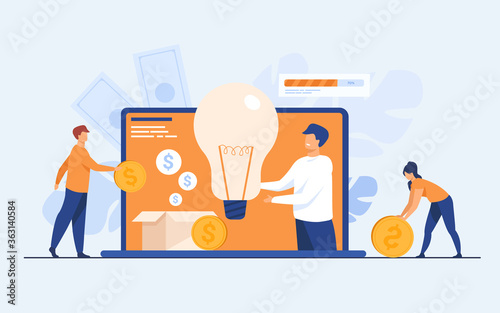 Fototapeta Investment and crowdfunding concept. People investing money to startup project, raising cash for donation on internet. Vector illustration for cooperation, business, sponsor topics obraz