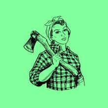 Lumberjill Holding Axe Posing Like Rosie The Riveter