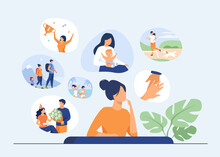 Happy Life Memories Concept. Woman Thinking Over Positive Important Moments Of Life Experience, Child Birth, Engagement, Vacation. Vector Illustration For Past, Personality, Achievement Topics