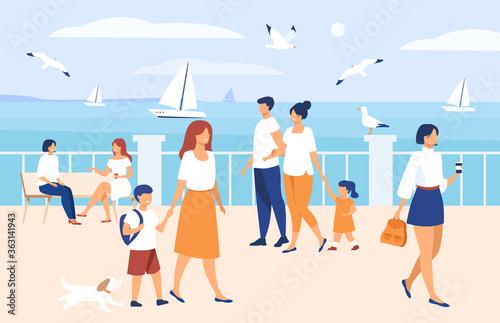 Photo People walking on seaside quay