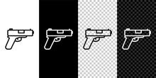 Set Line Pistol Or Gun Icon Is...