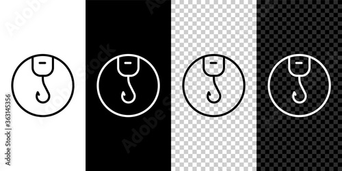 Set line Fishing hook icon isolated on black and white background Wallpaper Mural