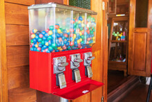 Gumball Machine Or Capsule Toy. Vintages Eggs Slot Machine With Colorful Eggs. Insert Coin And Let's Fun.