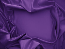 Beautiful Elegant Wavy Violet Purple Satin Silk Luxury Cloth Fabric Texture, Abstract Background Design. Card Or Banner.