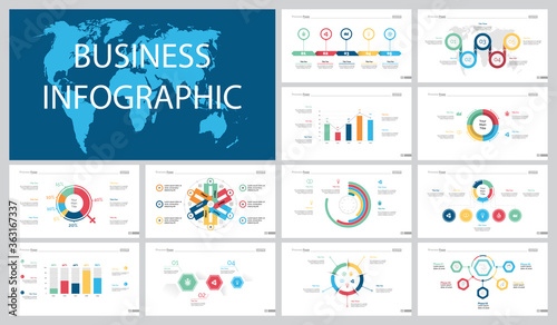 Valokuva Colorful marketing or planning concept infographic charts set