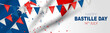 Bastille Day banner or header. July 14th France national holiday celebration. Blue, white, and red tricolor french flag and bunting. Vector illustration with lettering.