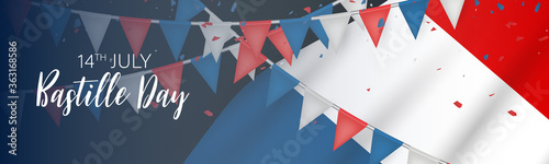 Fototapeta Bastille Day banner or header. July 14th France national holiday celebration. Blue, white, and red tricolor french flag and bunting. Vector illustration with lettering. obraz