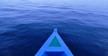 High Angle View Rowboat In Sea