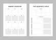 Set of annual overview and quarter's goals planner sheets. Clear and simple printable to do list. Business organizer page. Paper sheet. Realistic vector illustration.