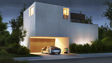 Modern Concrete House And Electric Car